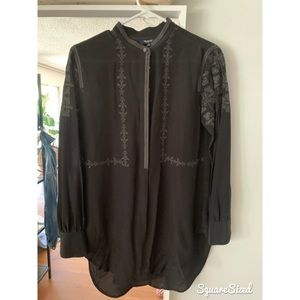 MADEWELL BLACK SILKY EMBROIDERED BLOUSE